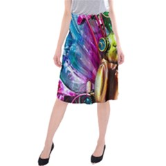 Magic Butterfly Art In Glass Midi Beach Skirt