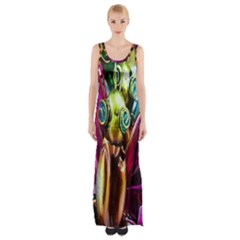 Magic Butterfly Art In Glass Maxi Thigh Split Dress
