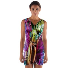 Magic Butterfly Art In Glass Wrap Front Bodycon Dress