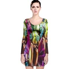 Magic Butterfly Art In Glass Long Sleeve Velvet Bodycon Dress