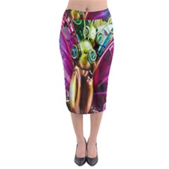 Magic Butterfly Art In Glass Midi Pencil Skirt