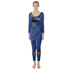 Glass Abstract Art Pattern Long Sleeve Catsuit