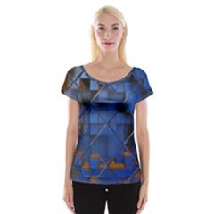 Glass Abstract Art Pattern Women s Cap Sleeve Top