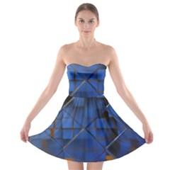 Glass Abstract Art Pattern Strapless Bra Top Dress