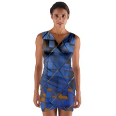 Glass Abstract Art Pattern Wrap Front Bodycon Dress