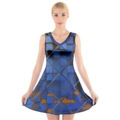 Glass Abstract Art Pattern V-Neck Sleeveless Skater Dress