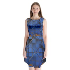 Glass Abstract Art Pattern Sleeveless Chiffon Dress