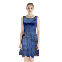 Glass Abstract Art Pattern Sleeveless Chiffon Waist Tie Dress
