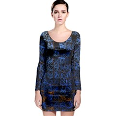 Background Abstract Art Pattern Long Sleeve Bodycon Dress