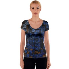 Background Abstract Art Pattern Women s V-Neck Cap Sleeve Top