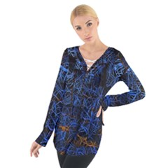Background Abstract Art Pattern Women s Tie Up Tee