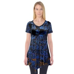 Background Abstract Art Pattern Short Sleeve Tunic