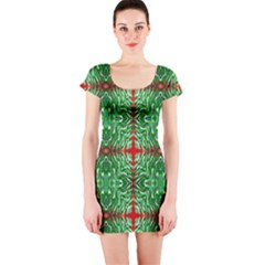 Geometric Seamless Pattern Digital Computer Graphic Short Sleeve Bodycon Dress