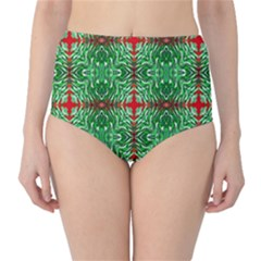 Geometric Seamless Pattern Digital Computer Graphic High-Waist Bikini Bottoms