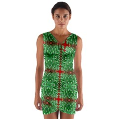 Geometric Seamless Pattern Digital Computer Graphic Wrap Front Bodycon Dress