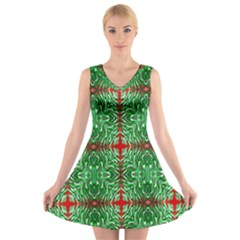 Geometric Seamless Pattern Digital Computer Graphic V Neck Sleeveless Skater Dress