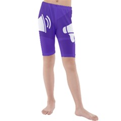 Announce Sing White Blue Kids  Mid Length Swim Shorts