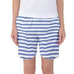 Animals Illusion Penguin Line Blue White Women s Basketball Shorts