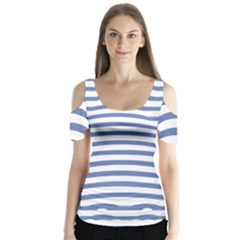 Animals Illusion Penguin Line Blue White Butterfly Sleeve Cutout Tee
