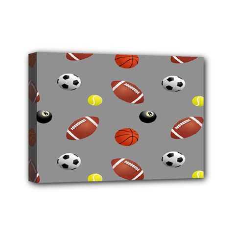Balltiled Grey Ball Tennis Football Basketball Billiards Mini Canvas 7  x 5