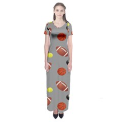 Balltiled Grey Ball Tennis Football Basketball Billiards Short Sleeve Maxi Dress