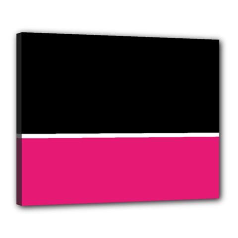 Black Pink Line White Canvas 20  x 16