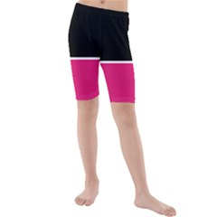 Black Pink Line White Kids  Mid Length Swim Shorts