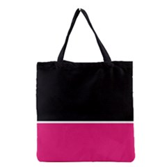 Black Pink Line White Grocery Tote Bag