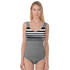 Black White Line Princess Tank Leotard