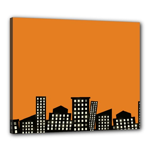 City Building Orange Canvas 24  x 20