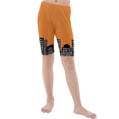 City Building Orange Kids  Mid Length Swim Shorts