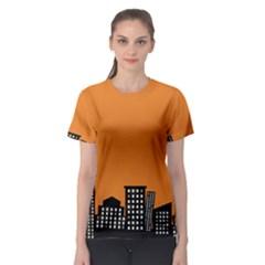 City Building Orange Women s Sport Mesh Tee