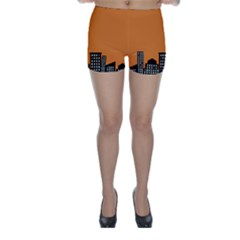 City Building Orange Skinny Shorts
