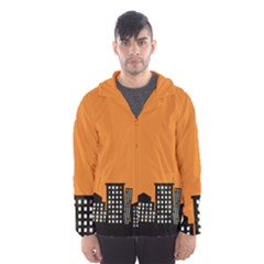 City Building Orange Hooded Wind Breaker (Men)