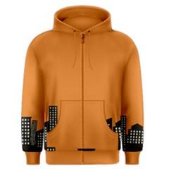 City Building Orange Men s Zipper Hoodie