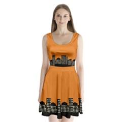 City Building Orange Split Back Mini Dress