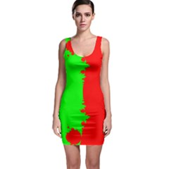 Critical Points Line Circle Red Green Sleeveless Bodycon Dress