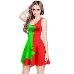Critical Points Line Circle Red Green Reversible Sleeveless Dress