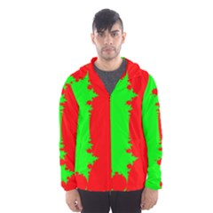 Critical Points Line Circle Red Green Hooded Wind Breaker (Men)