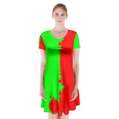 Critical Points Line Circle Red Green Short Sleeve V-neck Flare Dress