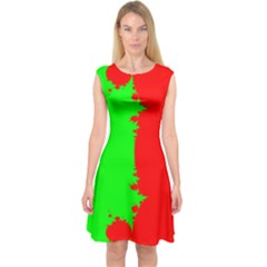 Critical Points Line Circle Red Green Capsleeve Midi Dress