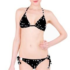 Circle Plaid Black White Bikini Set