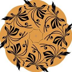 Black Brown Floral Symbol Hook Handle Umbrellas (Medium)