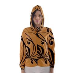 Black Brown Floral Symbol Hooded Wind Breaker (Women)