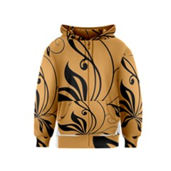 Black Brown Floral Symbol Kids  Zipper Hoodie