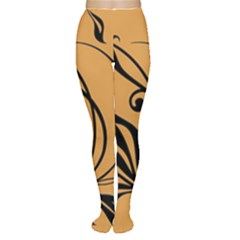 Black Brown Floral Symbol Women s Tights
