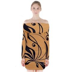 Black Brown Floral Symbol Long Sleeve Off Shoulder Dress