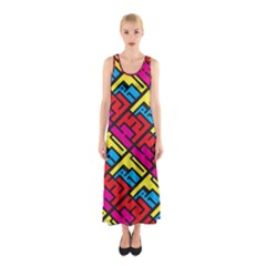 Color Red Yellow Blue Graffiti Sleeveless Maxi Dress