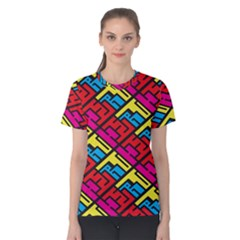 Color Red Yellow Blue Graffiti Women s Cotton Tee
