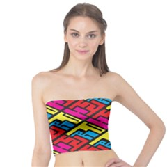 Color Red Yellow Blue Graffiti Tube Top